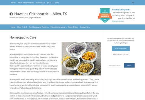 Hawkins Chiropractic, Allen, TX Homeopathy